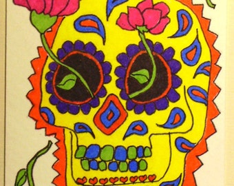 Sugar Skull Day of the Dead ACEO OOAK