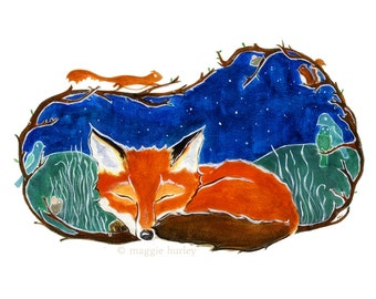 Fine Art Print - Sleepy Fox Among the Stars