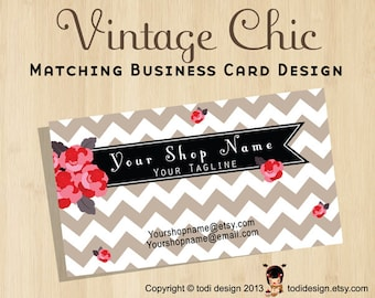 Business Card design to match Vintage Chic Premade shop set