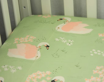 Organic Fitted Crib Sheet / Mini Crib Sheet - Organic Dabbling Swan Sage