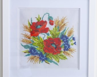 Poppies-3 cross stitch embroidered framed painting picture