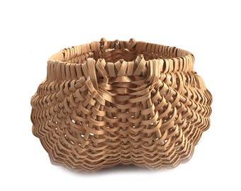 Vintage Handmade Yarn Buttocks Basket / Handmade Knitting Basket / Woven Yarn and Sewing Storage /