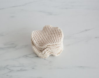 "100% Organic Cotton Natural Waffle Weave Facial Rounds -- 3"", 4"" 5"" Diameter, Choose your Size and Quantity."