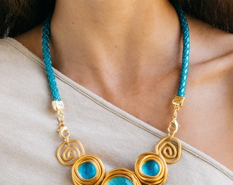 Mother's Day Gift, Gold Pendant Women Necklace, Turquoise Leather Necklace, Statement Necklace, Charm Bib Necklace, Wedding Necklace.