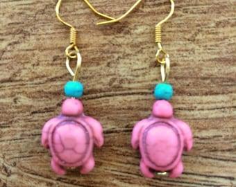 Pink Turtle Earrings, Gold Turtle Earrings, Boho Earrings