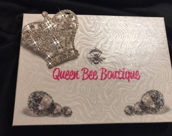 Platinum Plate Crystal Crown Sash Pin