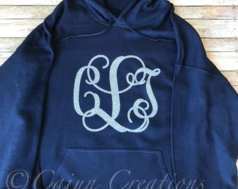 Monogram hoodie, Personalized navy hoodies, custom hoodies, gifts for women, monogram clothing, silver glitter, sweatshirt, pullover