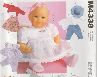 Baby Doll Clothes Pattern Dress, Pants Diaper Top Jumper more Uncut McCalls 4338