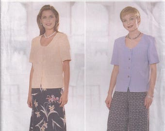 Loose Fitting Top With Peplum Lined A Line Skirt Wide Legged Pants Size 8 10 12 Blouse Shirt Sewing Pattern 1998 Butterick 5423