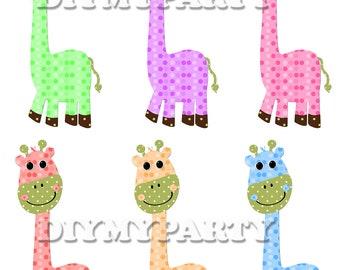 40% OFF Sale Printable party decor giraffe Clip Art giraffe clipart birthday decoration pdf digital birthday party scrapbooking diy tag 269