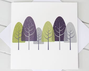 Simple Scandi Winterwood Trees  Blank Card Blue and Olive print