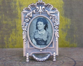 Antique French Tintype Photo Ornament Pendant in an Ornate Antique Brass Frame