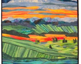 WNC Landscape 30x40 Fiber Wall Art - Fibre Wall Art ~ Textile Art ~ Quilt Art ~ Collage Art Quilt ~ Framed Wall Hanging ~ Original OOAK