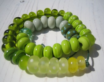 Bundle of 45 Green  Lampwork Orphan Beads, SRA, UK Seller