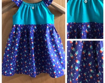 Fourth of July Popsicle Print Sundress, size 3t