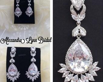 silver bridal earrings, crystal wedding earrings, art deco vintage bridal jewelry, Swarovski, mother of the Bride/groom wedding accessories