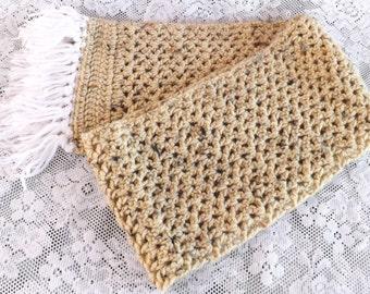 crochet scarf v stitch scarf tan scarf fringed scarf