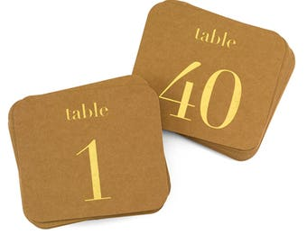 1-40 Kraft Table Numbers With Gold or Silver Foil Wedding Table Numbers