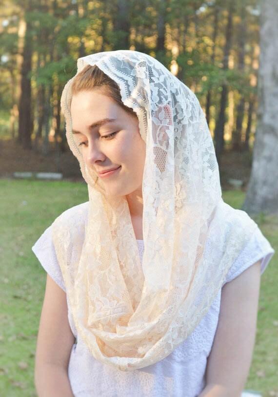 Catholic Soft Cream Infinity Veil | Catholic Chapel Veil Mantilla Traditional Mass Scarf Lace Head Cover Veil for Mass Robin Nest Lane Veils