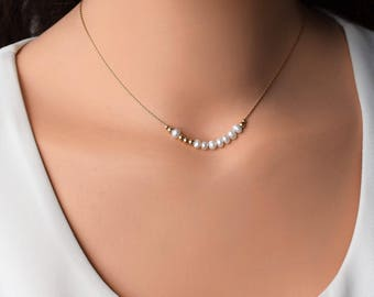 Pearl Dainty Necklace, Gold Pearl Necklace, 14K Gold Filled Necklace, Pearl Gold Necklace, Layering Gold Necklace, Minimalist Gold Necklace