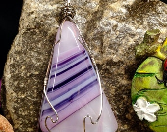 Purple Pink And White Fused Glass Wire Wrapped Pendant