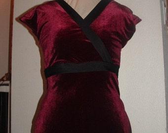 Modest Velvet Dress, Custom dress, stretch velvet, classic, machine wash, packable Dress