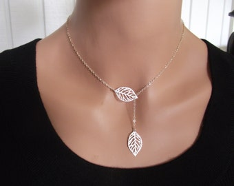 Silver Leaf Necklace, Sterling Silver necklace, Leaf Jewelry - Cute, Dainty, mother, mom, teen, Brithday gift