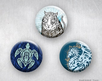 Graphic Tribal Tattoo Animals, Dragon, Turtle, Tiger Art, Pinback Buttons, Original Design, 1.25 inch, Set of 3