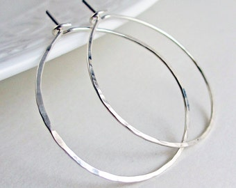 1.125 inch, Sterling Silver Hoops, Hammered Hoop Earrings, Medium Large, Argentium Sterling Silver, Thin Hoop Earrings, Modern Classic Hoops