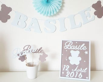 Newborn gift set: small Garland name + mini photobooth + frame personalized Teddy bear.