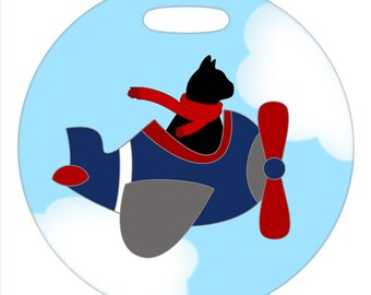 Luggage Tag - Flying Black Cat - Round Plastic Bag Tag