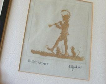 Vintage Framed Rattenfanger Scherenschnitt German Paper Cutting Folk Art Craft Pied Piper Artist Signed