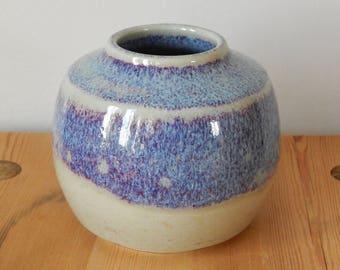 Scandinavian Vintage Vase Vintage Brown Purple Vase Stoneware Artist Signed 1987 s
