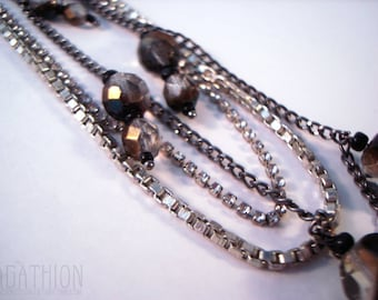 Layered mixed Chain Necklace with iridescent fire polished Czech glass bead drops and rhinestones