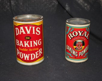 Pair of Baking Soda Tins, Davis, Royal