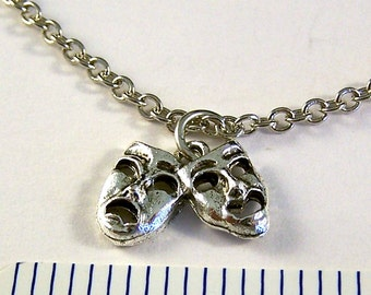 Silver Plated Comedy/Tragedy Masks  Charm on a Link Chain Necklace - Free Shipping in the US - (1793)
