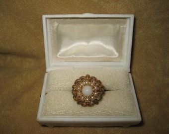 Sarah Coventry Faux Pearl Costume Ring Adjustable Vintage