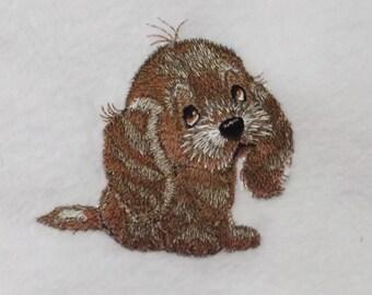 Spaniel Puppy Design (80) - Embroidered Personalised Fleece Dog Blanket