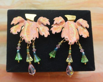 Lunch at the Ritz Earrings - Orchids, Signed, Clip - Free US Shipping - Vintage - Fabulous!