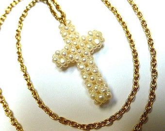 PEARL SEEDBEADS Handcrafted Vintage Cross, Pearl Cross & Neck Chain, Faux Cultured Pearl Cross, Woven Pearl Beads Cross Necklace, OOAK Cross