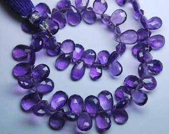 8 Inch Strand,Finest Quality,Purple Amethyst Micro Faceted Pear Shape Briolettes,8-9mm size
