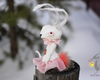 White Stuffed rabbit Creepy stuffed Easter animals Miniature bunny plush Doll bunny OOAK Poseable art doll animal Personalized plush bunny