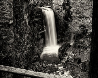 Landscape Photography, Waterfall, Mount Rainier National Park, Long Exposure, Fine Art Black and White Photography, Wall Art, Home Decor
