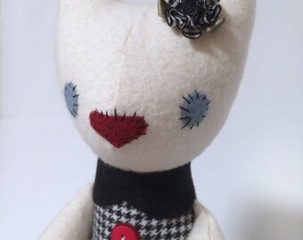 Plush Cat / Soft Doll / Stuffed Animal / Astrid the Cat / Art Doll / Toy / Handmade Softie