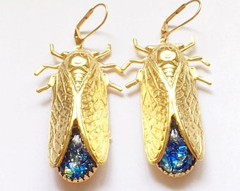 Cicada Earrings, 24kt gold plated, handmade.