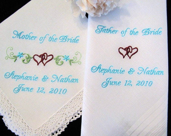Entwined Hearts Mother and Father of the Bride or Groom Custom Handkerchiefs.