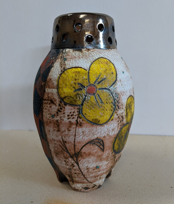Handmade Ceramic Yellow Pansy Vase, with Checkers