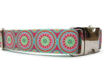 """Flower Power Dog Collar, 1"""" wide Collar for Dogs in Small, Medium, Large, Extra Large or Custom Australian Made"""
