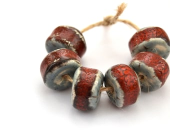6 Handmade Ceramic Art Beads, Rustic Beads, Nautical Beads, Blue / Red Disk Beads, White Clay Beads, Jewelry Supplies