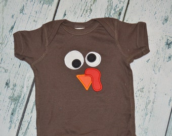 Turkey Short Sleeve Bodysuit CLEARANCE 6 Month, Ready to Ship Thanksgiving